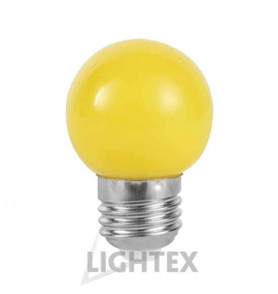 LED лампа  жълта 1W 220V P45 E27  Lightex