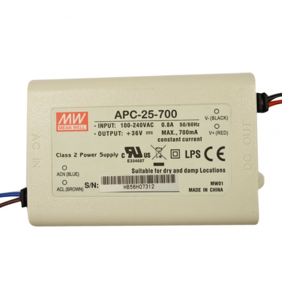 Led драйвър 25W 11-36V 700mA IP30  MEAN WELL