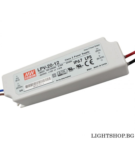 LED драйвър 20W 12V 0-1.67A IP67 MEAN WELL