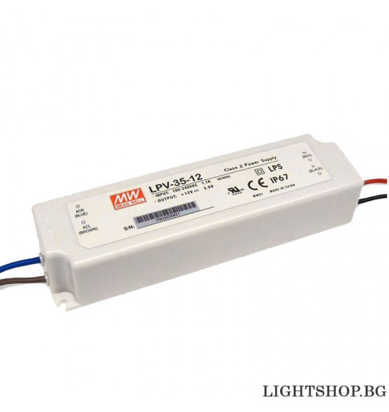 LED драйвър 35W 12V 0-3.0A IP67 MEAN WELL